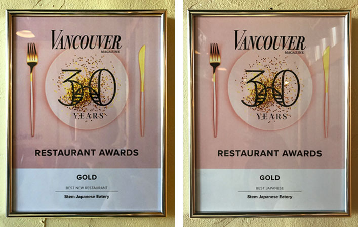 STEM Awarded Best New Restaurant and Best Japanese Restaurant by VanMag
