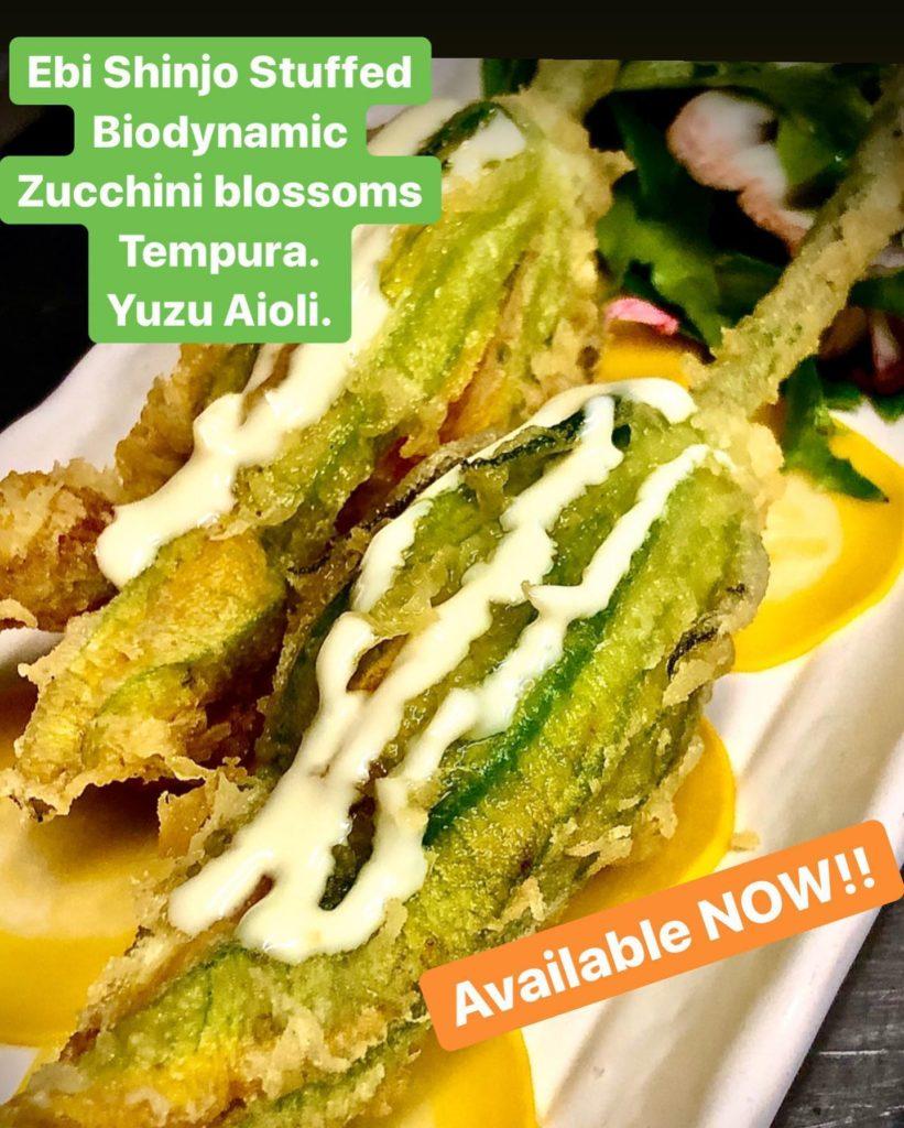 Ebi Shinjo Stuffed Biodynamic Zucchini Blossom Tempura